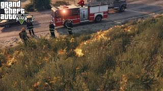 GTA 5 Rescue Mod Day 29 | Play As A Firefighter Mod | Chicago Fire Engine Fights Deadly Brush Fire