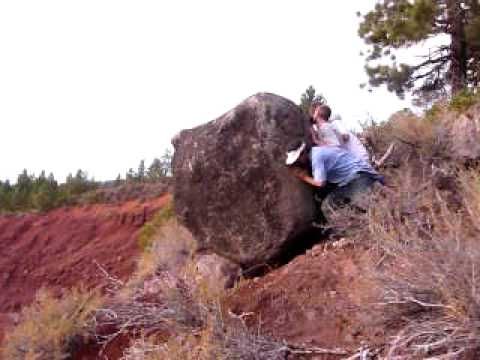 Rolling A Huge Rock Down The Hill Youtube