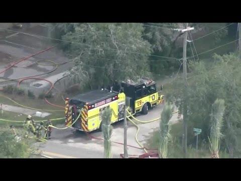 Eagle 8 over warehouse fire