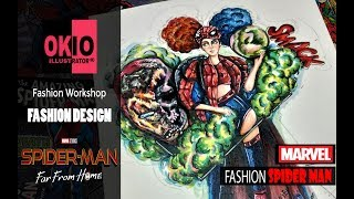 VẼ THIẾT KẾ THỜI TRANG | Spiderman fashion | Fashion Drawing | Fashion Design