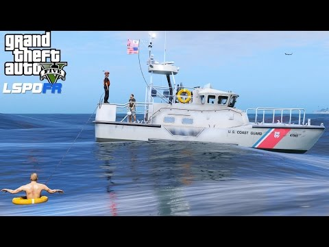 GTA 5 LSPDFR USCG Coastal Callouts   Rescuing People In The Water With A Throw able Life Preserver