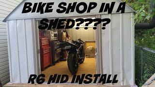 Ultimate BIke Shop In a Shed???? + R6 H.I.D Install vlog