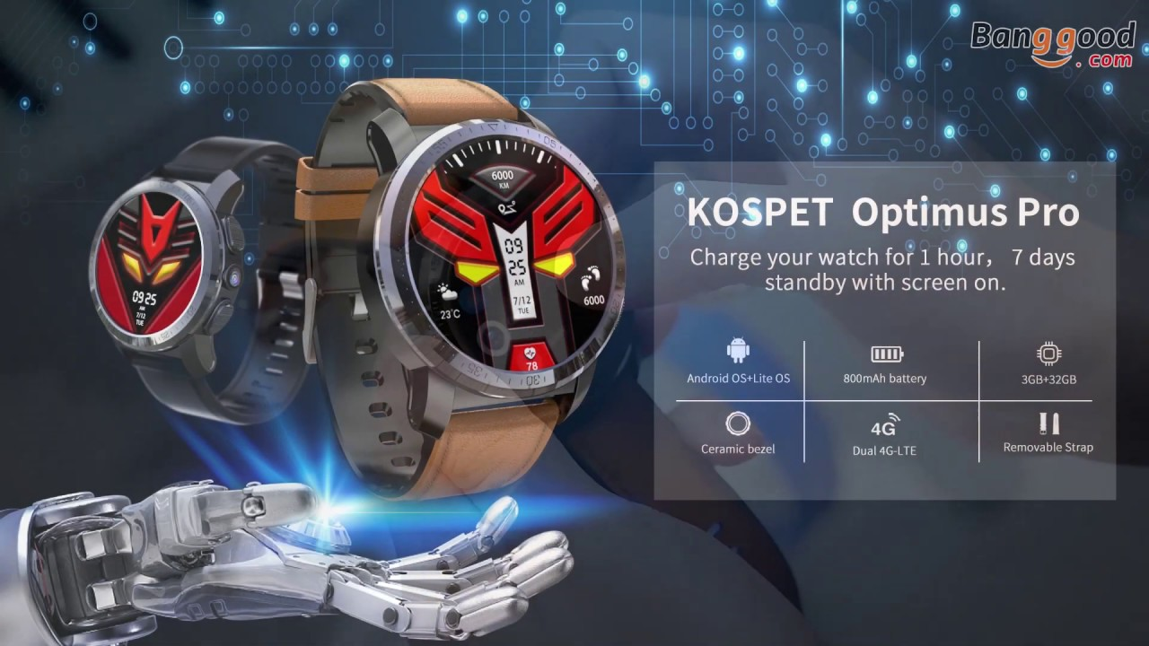 Kospet Optimus Pro Dual Chip System 3G+32G 4G-LTE Watch Phone AMOLED 8 0MP  800mAh GPS Google Play Smart Watch