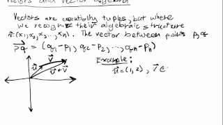 Euclidean Spaces Lecture 1 Part 2: Vector Algebra