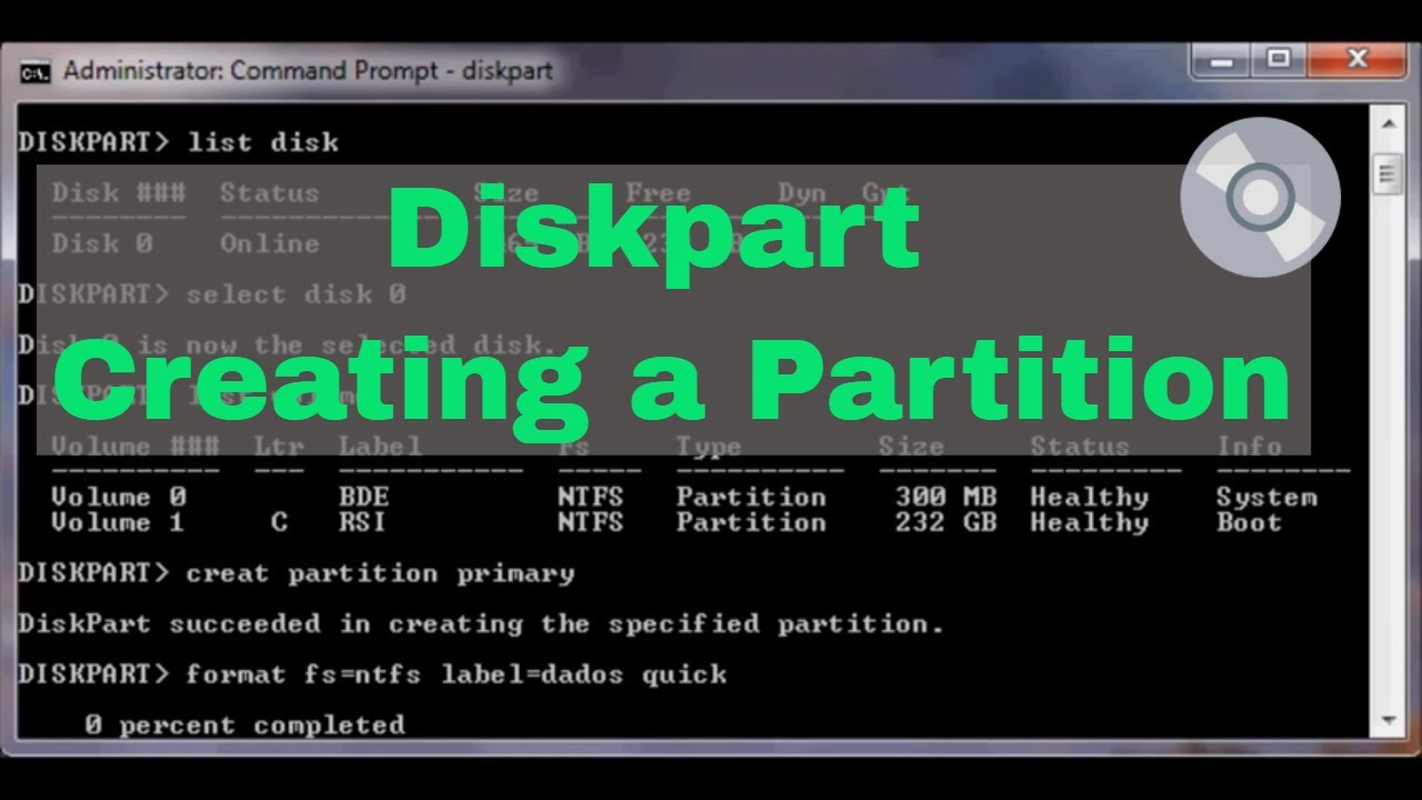 Diskpart Creating a partition - Part I