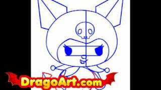 How to draw Kuromi, step by step