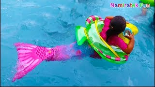 Mainan Anak Putri Duyung Mermaid Tail Balita Belajar Berenang di Kolam Renang Anak Ramai Sekali