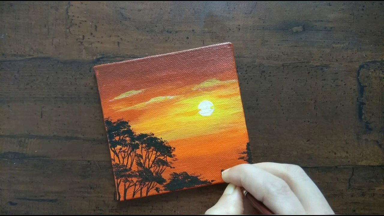 Easy Sunset Canvas Painting For Beginners Acrylic Painting Nature Landscape Painting Youtube