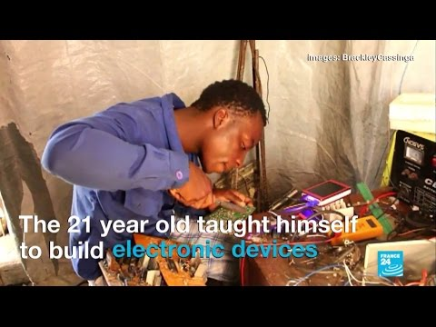 DR Congo's young engineer making appliances out of junk