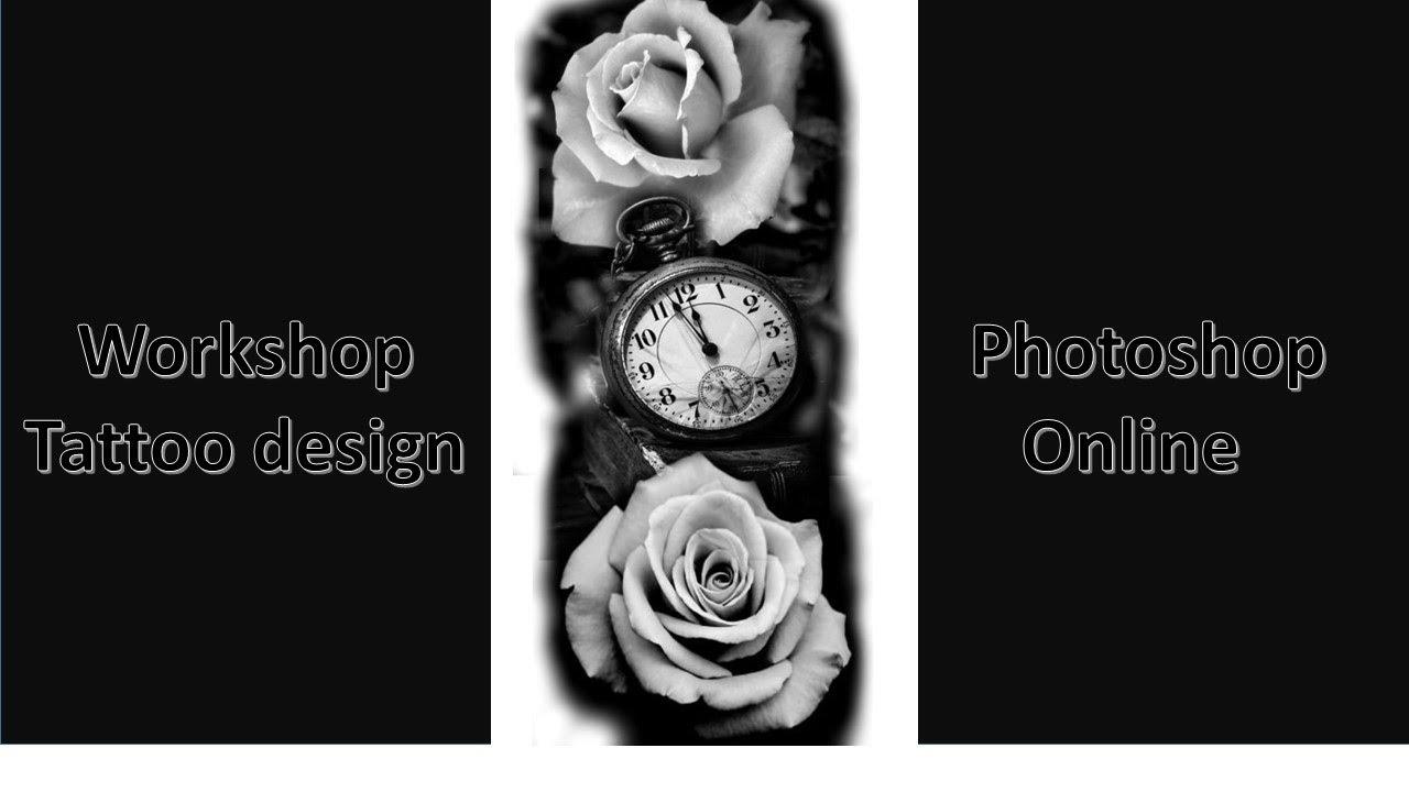 Workshop Tattoo Design Clock In Rose