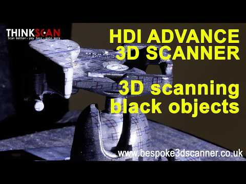 3D scanning black and dark objects. HDI Advance 3D scanning system