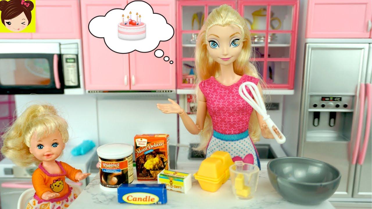 Frozen Elsa Y Su Bebe Preparan Un Pastel Cocina De Munecas Con