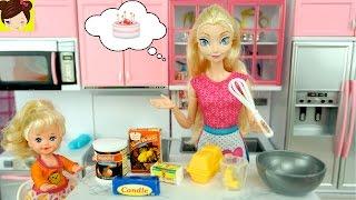 Frozen Elsa y Su Bebe Preparan un Pastel - Cocina de Muñecas con Horno y Refrigeradora  de Juguete