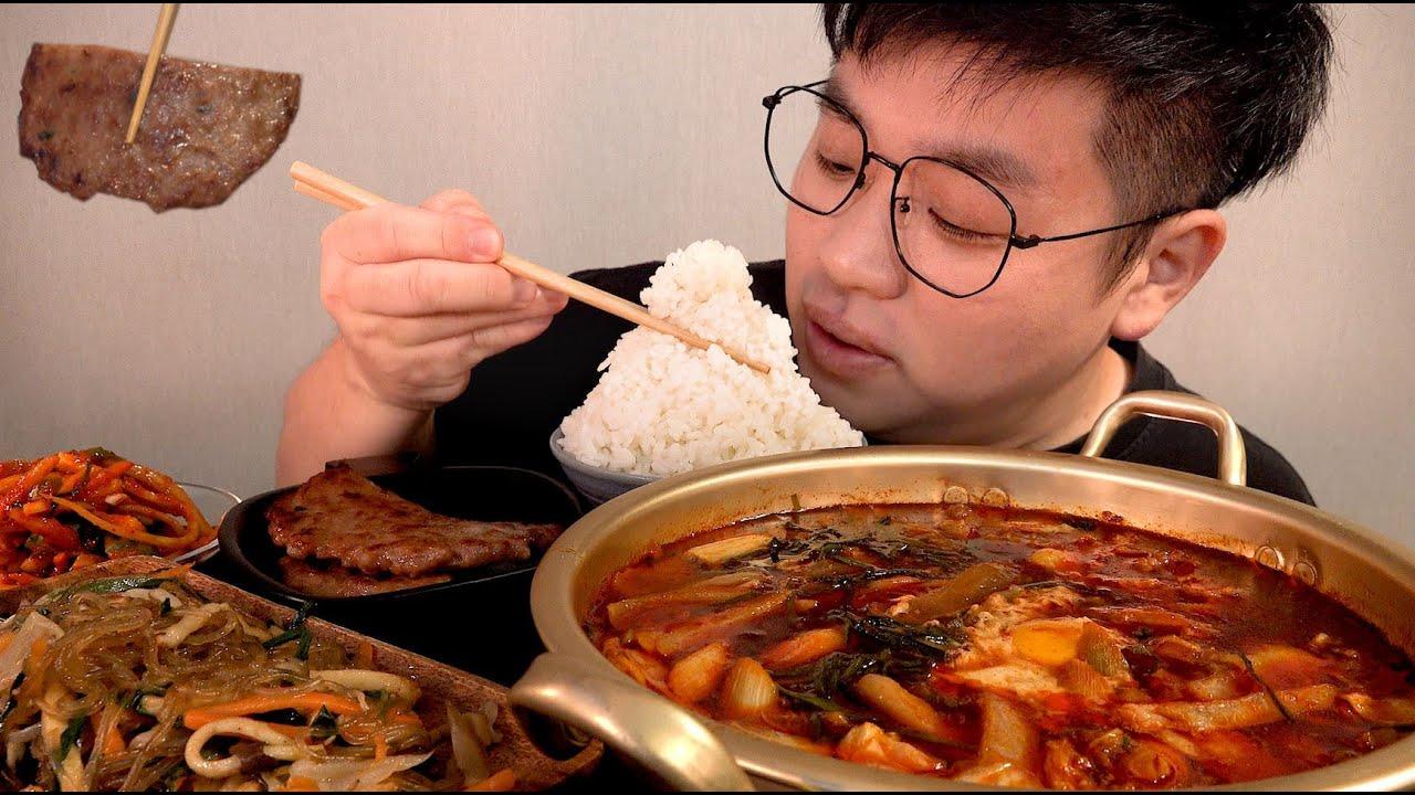 가정식 먹방 정갈한 한끼 짬뽕수제비먹방 잡채 떡갈비 맛사운드 레전드먹방 teok galbi japchae mukbang Legend koreanfood asmr