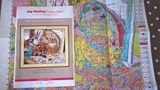Китайский набор для вышивки от Joy Sunday с AliExpress. Копия Dimensions 35164 кот Леонардо.