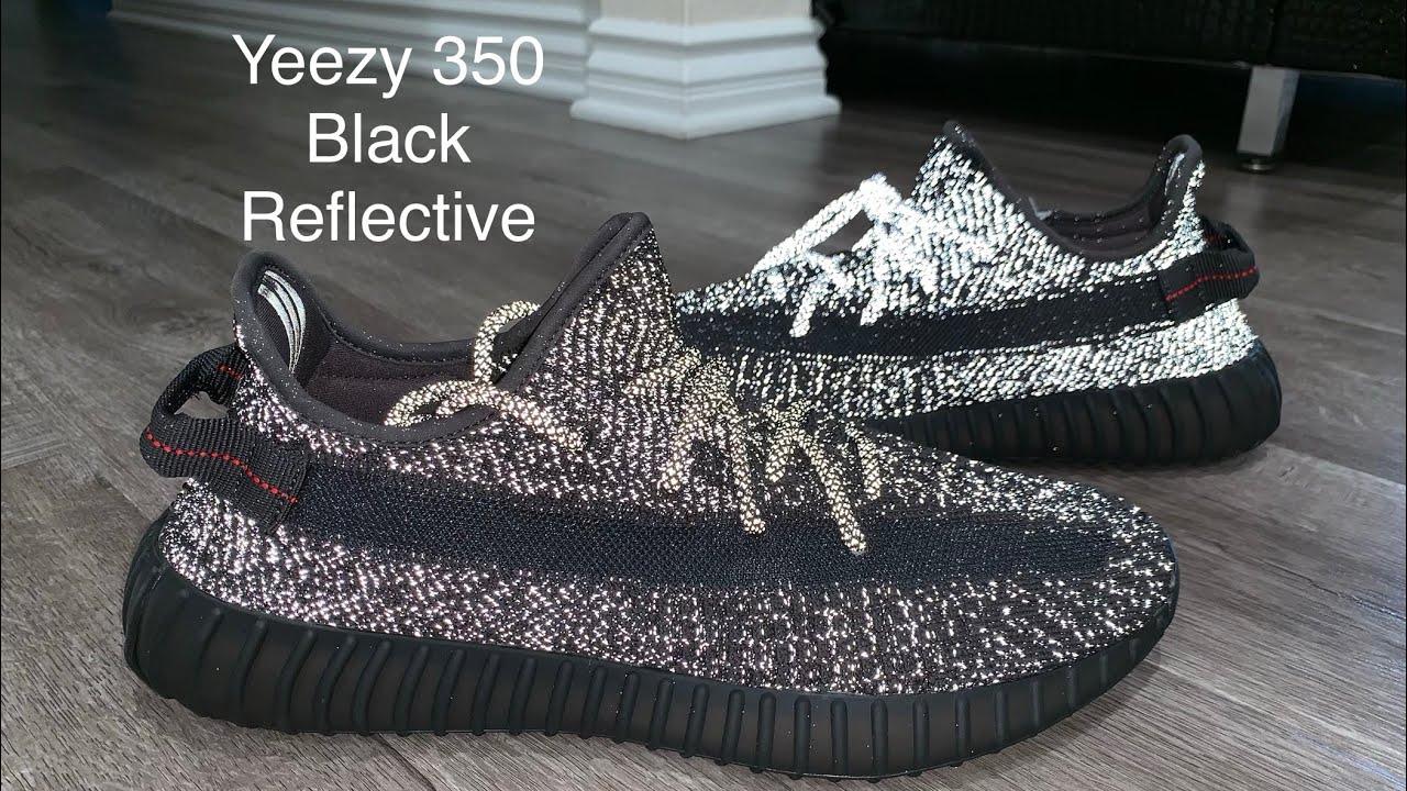 yeezy 350 black reflective