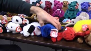 Rarest TY Beanie Babies Collection - Royal Blue Peanut, Wingless Quackers & more - BBToyStore.com