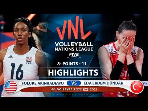 Download Semi - Final   USA vs Turkey   Highlights   Foluke Akinradewo vs Eda Erdem Dündar   VNL 2021 (HD)