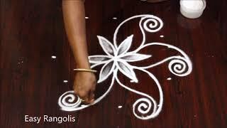 Simple Kolams with 5 dots | Easy Muggulu | Easy Rangoli Designs | Apartment Rangolis
