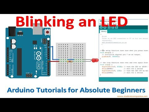 Arduino For Beginners Tutorial -3- Blinking An LED With Arduino