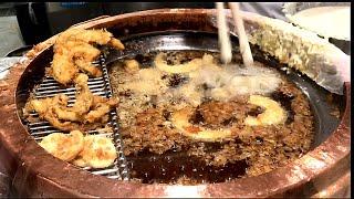 大衆食堂の天ぷら職人の揚げ方 大鍋で次々に揚げられてゆく 天丼 作り方