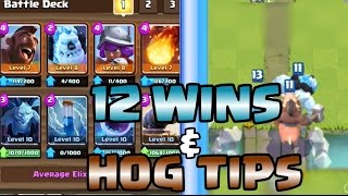 12 wins grand challenge l hog rider tips decks l clash royale l