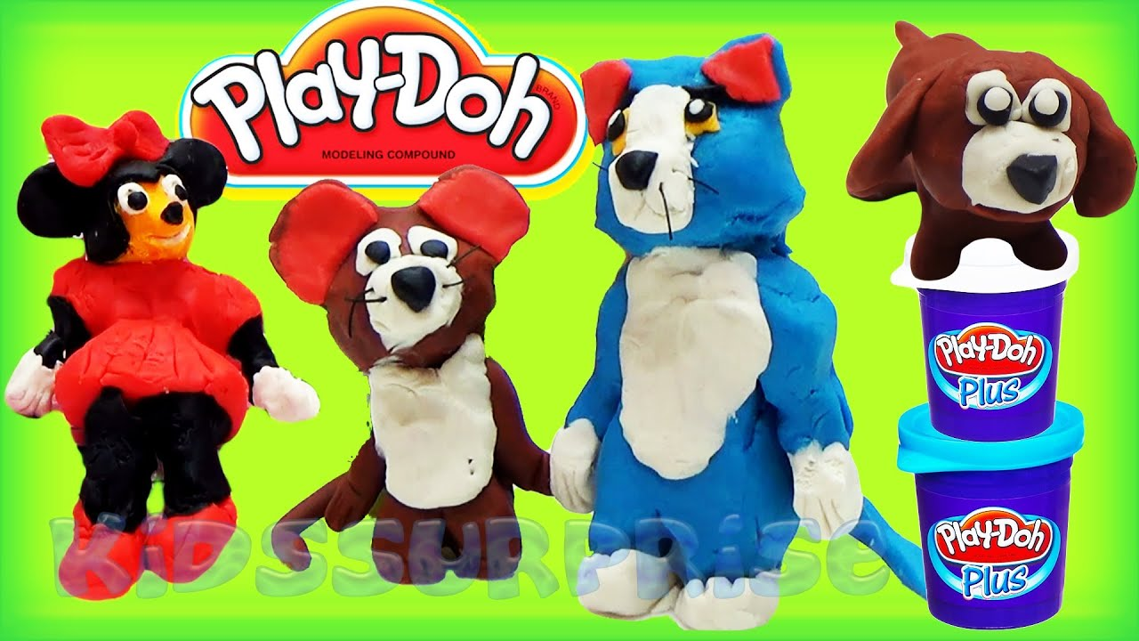Play doh tom and jerry vs minnie mouse animal dog 3d modeling cartoons