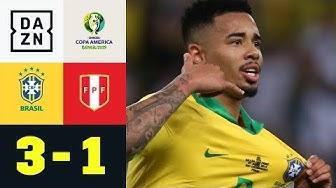 Gabriel Jesus mit Assist, Tor und roter Karte im Finale: Brasilien - Peru 3:1 | Copa America | DAZN