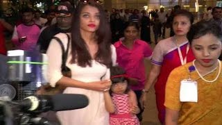 Aaradhya Bachchan looks scared while returning with mom Aishwarya !