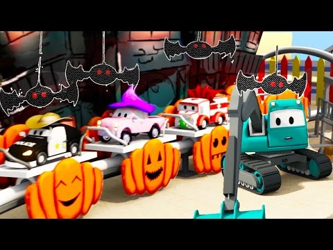 Construction Squad builds a Ghost Train for HALLOWEEN in Car City ! | Halloween Special