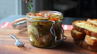 Eggplant Escabeche Recipe - Spicy Preserved Eggplant Relish - Cold Eggplant Salad