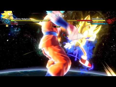 Dragon Ball Xenoverse 2 (PC): Sonic Transforms to Super Sonic vs Super Saiyan Blue Goku