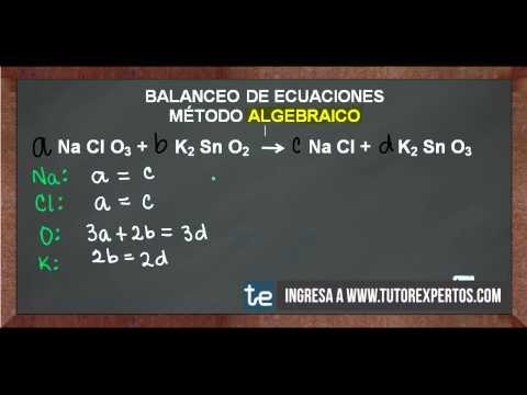 Balanceo de Ecuaciones Método Algebraico No. 1