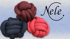 Knotenkissen aus XXL Garn von Online Wolle, Knoten,DIY Anleitung by NeleC.