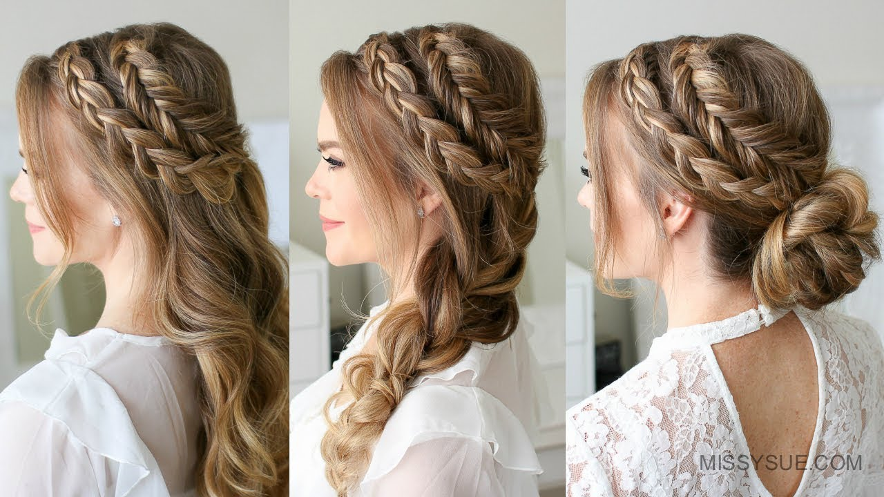 how to do hair up styles mixed and fishtail braid 3 ways sue 9406 | maxresdefault