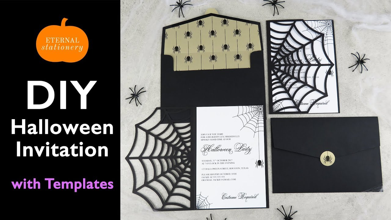 DIY Halloween Invitation Card | Cobweb Invitations using the Cricut ...