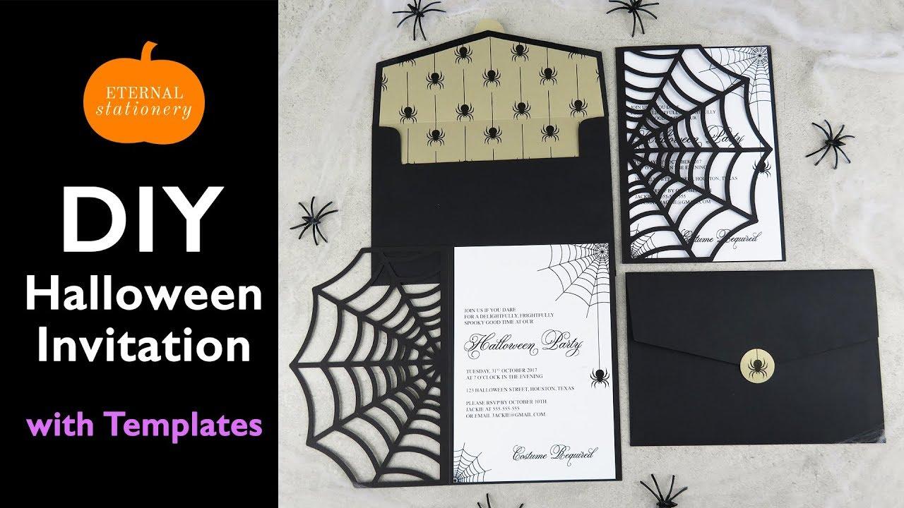 diy halloween invitation card cobweb invitations using the cricut