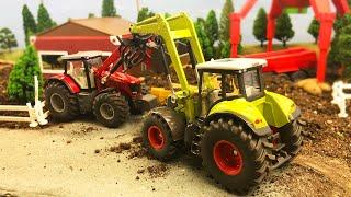 Мультики про машинки. Трактор и грузовик на ферме разгружают сено