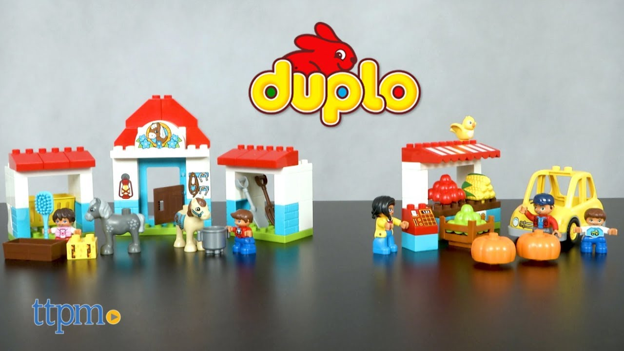 7e41e7150bdfc LEGO Duplo Farm Pony Stable and Farmers' Market from LEGO - YouTube