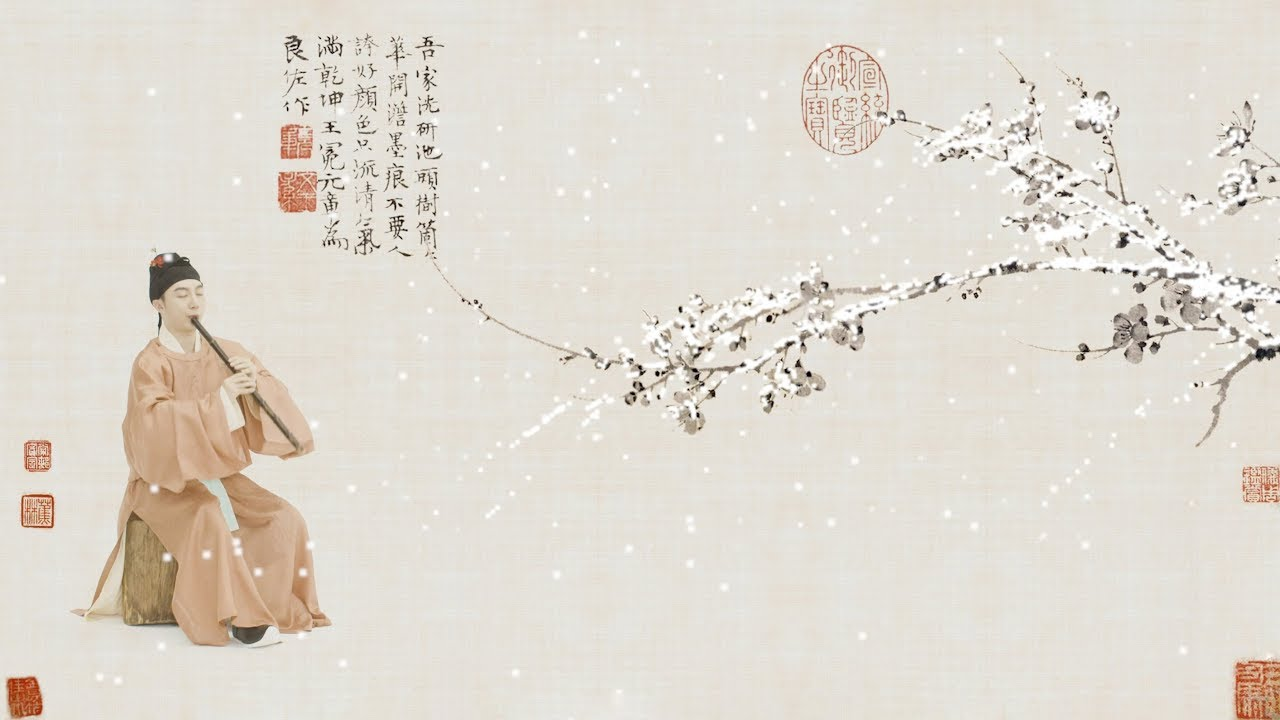 【箫Xiao】《梅花三弄》Music describing plum blossom in ancient China宋代装束|簪花Costumes of Song Dynasty