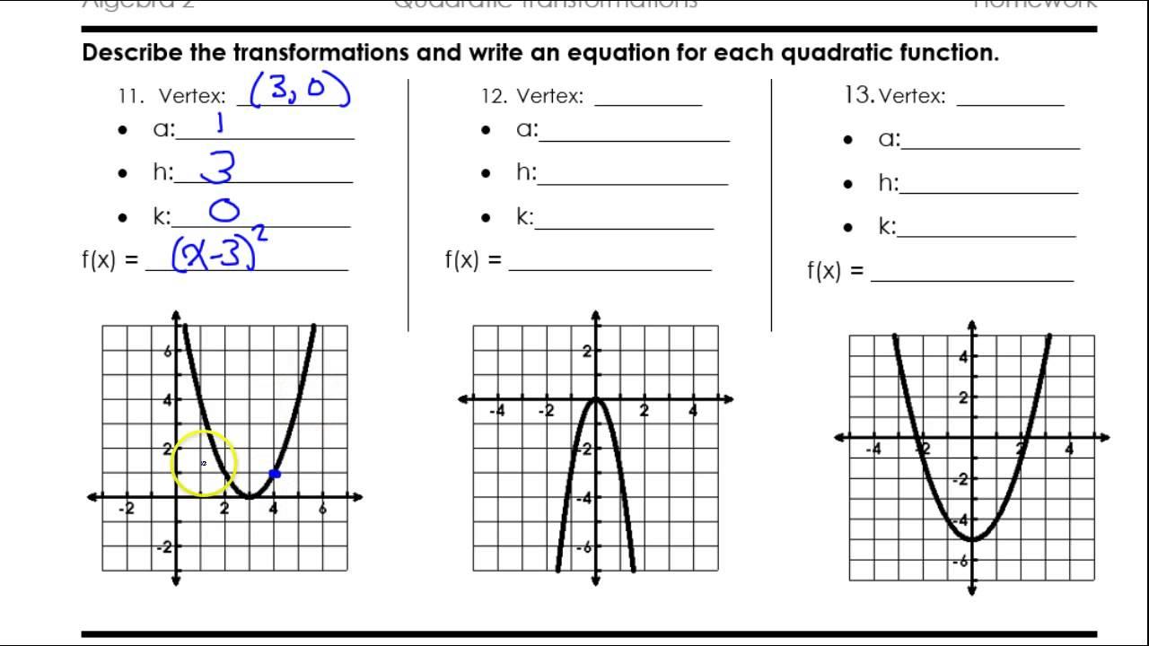 Day 3 HW Quadratic Transformations - YouTube