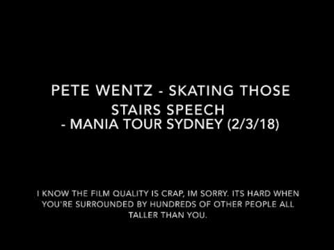 Pete Wentz - Skating speech - Mania Tour Sydney (2/3/18) [includes cute Patrick laugh]