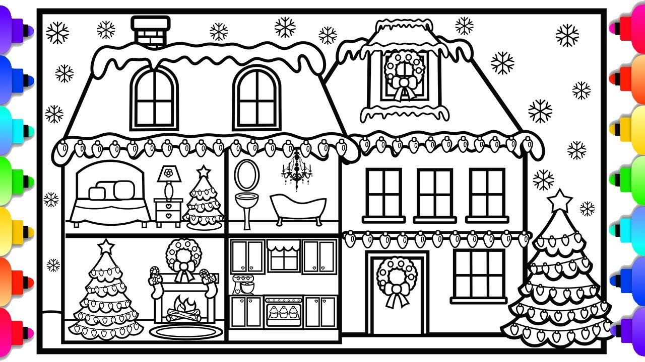 How to Draw and Color a House with Christmas Decorations ...