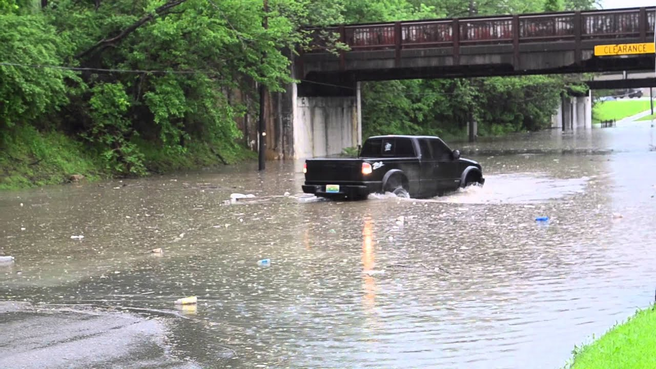 Watch Lifted Truck Think Twice About Going Through Flooded