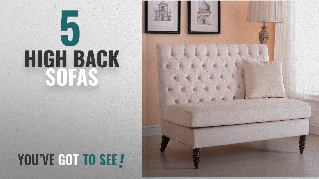 Top 10 High Back Sofas 2018 Belleze Beige Velvet Modern Loveseat Bench Sofa Tufted High Back