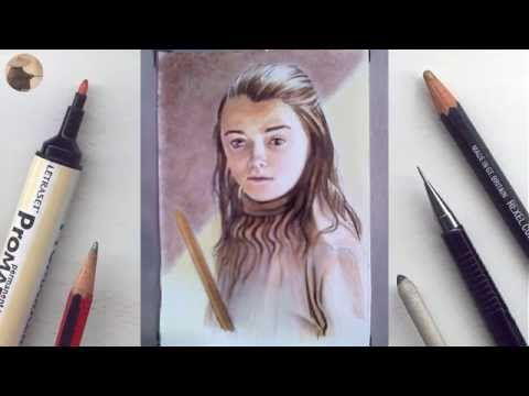 Arya Stark (Maisie Williams) miniature portrait timelapse animation