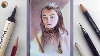 Arya Stark (Maisie Williams) miniature portrait timelapse animation