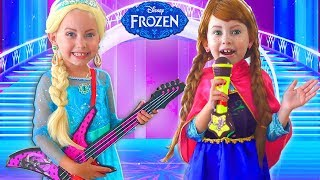 Frozen Elsa And Anna Playing with Musical Instrument Toys. Stories Princesses In Real Life