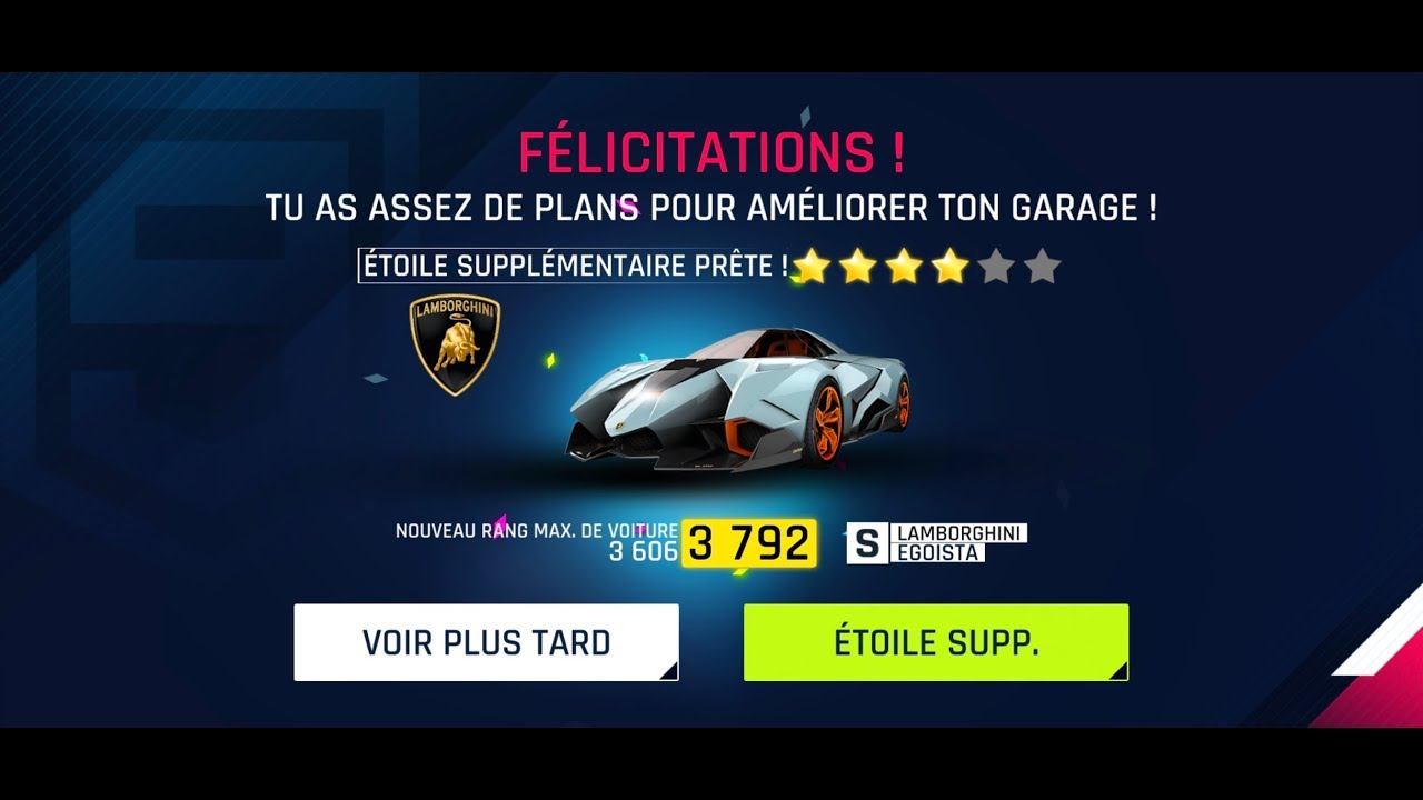 Asphalt 9 Lamborghini Egoista 4 Stars Youtube
