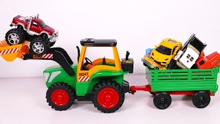 Big Toy Tractor Playset for Kids with Many Vehicles Toys for Children